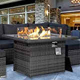 Propane fire Pit 43' fire Table 55,000 BTU Auto-Ignition with 8mm Tempered Glass Table Top Gas firepits for Patio Outdoor Blue Glass Stone Included CSA Certification with Cover