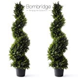 Bornbridge Artificial Spiral Topiary Tree - Indoor/Outdoor Topiary Trees - Artificial Outdoor Plants (2 Pack, 4' Cypress)
