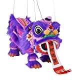 Mandala Crafts Hand String Puppet with Rod, Chinese Marionette Lion Toy (Purple)
