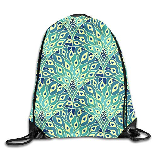 Lawenp Plegable Peacock Drawstring Bag, Sports Cinch Sacks String Drawstring Backpack for Picnic Gym Sport Beach Yoga