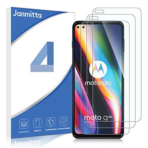 Janmitta Protector de pantalla para Motorola Moto G 5G Plus (3unidades, vidrio templado de alta definición 9H, ultrafino, antiburbujas, protector de pantalla con Motorola Moto G 5G Plus
