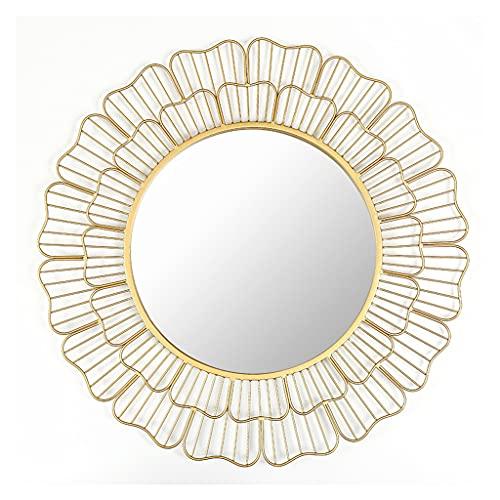 LWF Decorativo Oro Espejo De Pared 69 Cm Marco Metal Redondo Espejo De Baño Círculo Alta Definición Espejo De Maquillaje para Sala De Estar Pasillo Dormitorio