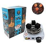 Shisha King® Encendedor de carbón eléctrico para shisha con rejilla, 500 W, pequeño horno de...