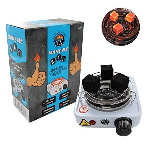 Shisha King® elektrischer Mini Kohleanzünder für Shisha Kohle mit Gitter | 500 Watt | Kleiner Premium Kohleofen Naturkohle (weiß)