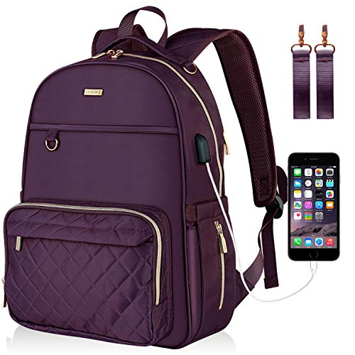 Landici Diaper Bag Multifunction Waterproof Travel Backpack Nappy Changing Pad Storage Bag for Mom Dad Baby Boy Girl with Ipad Compartment,Insulated Pockets,USB Port,Stroller Straps,Purple