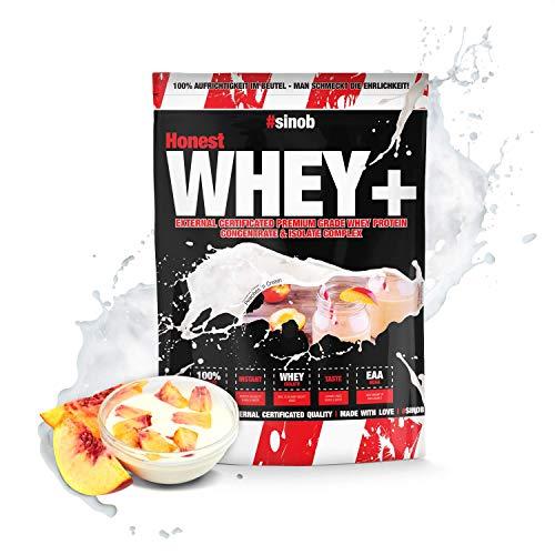 sinob Honest Whey Protein - Pfirsich Joghurt - 1 x 1000 g. 12,5% Isolate Anteil. Instant lösliches Eiweißpulver mit BCAA & EAA 'Hergestellt in Deutschland'