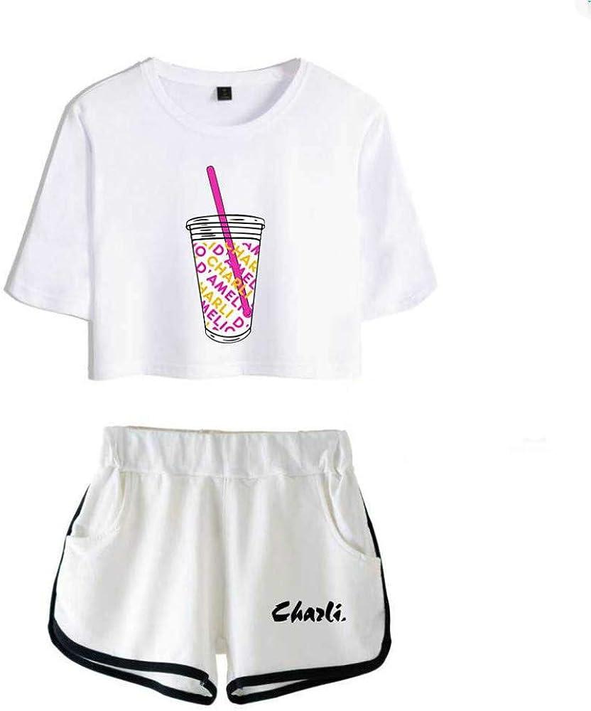 WAWNI Two-Piece Shorts Cute T-Shirt Harajuku Printed Ice Coffee Splash Charli Damelio Girl Suit