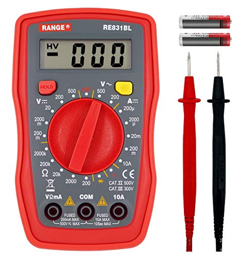 RANGE Digital Multimeter with Ohm Volt Amp and Diode Voltage Tester Meter Continuity Tesr(Dual Fused for Anti-Burn)