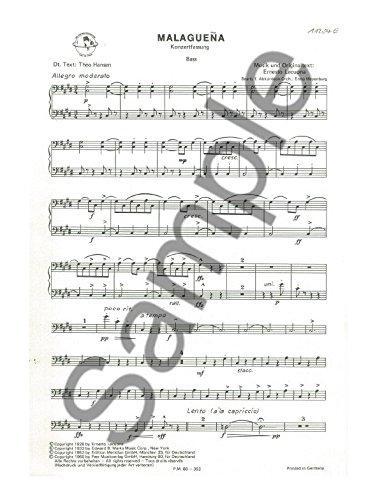 Ernesto Lecuona: Malaguena - Pieza bajo. Hoja de música para acordeón