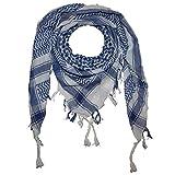 Freak Scene Foulard palestinien/keffieh en coton - couleur de base blanche - 100 x 100 cm - blanc motif bleu