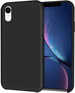 iPhone XR Case, Hython Liquid Silicone Gel Rubber Case Soft Microfiber Cloth Lining Cushion Anti-Scratch Hybrid Protective Shockproof Slim Smooth Silky Cover for iPhone XR 6.1-Inch 2018, Black