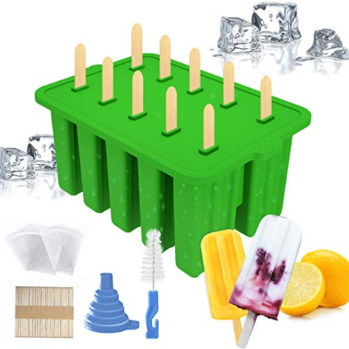Popsicle Molds 10 Pieces Silicone Ice Pop Maker Molds Reusable BPA FreeSilicone Popsicle Mold with Silicone Funnel and Wooden Sticks for DIY Ice CreamGreen