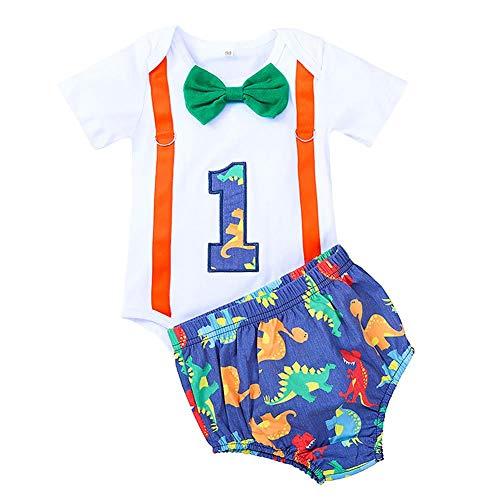 FYMNSI - Pelele de manga corta para bebé, niño, primer cumpleaños, diseño de dinosaurio, algodón, con tirantes, pantalones cortos, ropa para fotografía azul 12-18 Meses