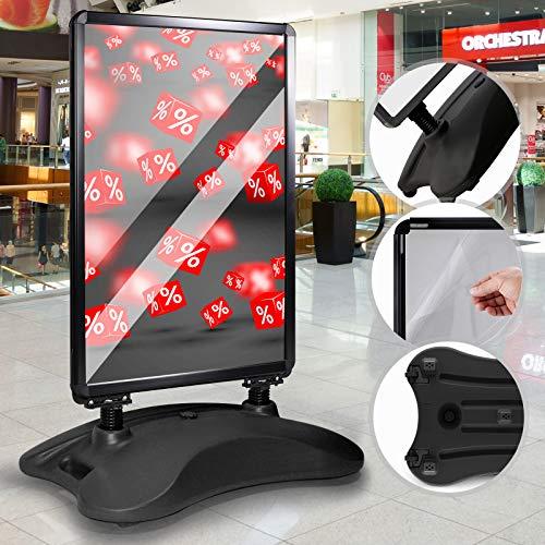 Kundenstopper DIN A1 Mobil - Alu Rahmen und 2 Folien Doppelseitig, mit Wasser befüllbar, in Schwarz - Wetterfester Plakatständer, Gehwegaufsteller, Standfuß Tafel