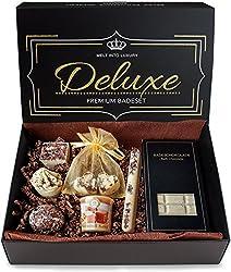 """BRUBAKER 8-teiliges Bio Badepralinen Geschenkset""""Deluxe Schokolade Karamell"""" - Vegan - Natürliche Inhaltsstoffe - Olivenöl, Shea Butter, Kokosöl, Kakaobutter - Handgemacht - inkl. Geschenkbox"""