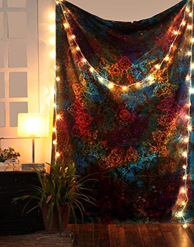 Tapiz de Estrella - Tapices Psicodelicos Abstractos Tie Dye Wall Hanging Tapestry Arte Decorativo Casero Hippie Boho Doble Sabana - Azul - 213 x 137 cm