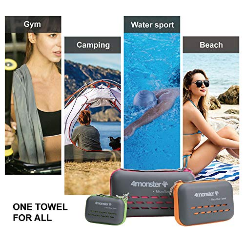 4Monster Microfibre Travel Towel Quick Dry, Lightweight Gym Towel Ultra Soft, Super Absorbent Compact Camping Towel for Sports Gym Beach Camping Yoga Swimming Hiking
