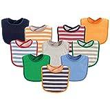 Luvable Friends Unisex Baby Drooler Bibs, Boy Stripe 10-Pack, One Size