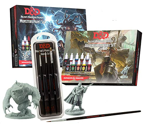 The Army Painter Dungeons and Dragons Miniature Painting Kit Bundle with Monsters and Adventurer's Acrylic Paint Set and Nolzurs Marvelous Brush Set Miniature Paint Brushes for DND Miniatures