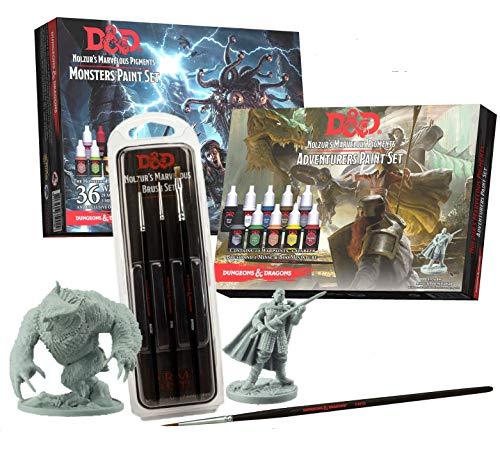 The Army Painter | Confezione di pigmenti Dungeons And Dragons Nolzur's Marvelous | 46 Colori acrilici | 4 pennelli e 2 Miniature per Roleplaying e Wargames