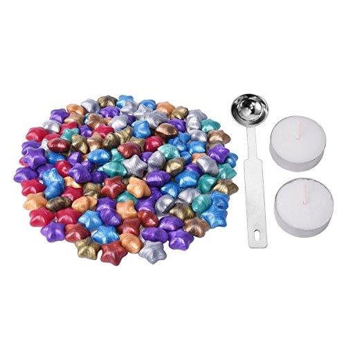 Siegelwachs, Perlen in Sternform, 140Stück, sowie 1Löffel zum Wachsschmelzen und 2Kerzen, 9Farben