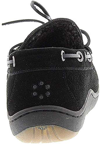 Tempur-Pedic Men's Therman Moccasin Slipper,Black Suede,US 9 M