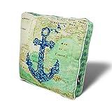 myBubo Comfort Sitzkissen Auflage 45x45cm Sitzauflage 10 cm dick mit Anker 2 Maritim Motiv Shabby Chic Matratzenkissen,Bodenkissen, Stuhlkissen