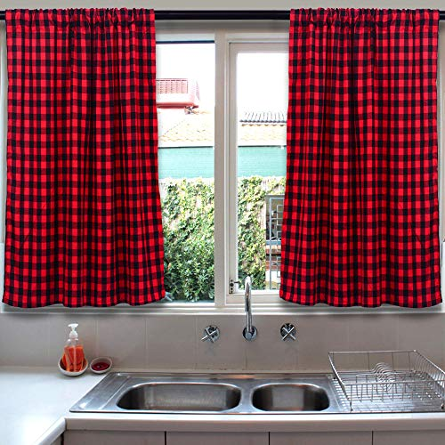 Living Room Curtains, Farmhouse Curtains, Kitchen Curtains, 36 inch Curtains, Buffalo Check Curtains, Bedroom Curtains, Window Curtains, Cafe Curtains, Basement Window Curtains, Black and Red