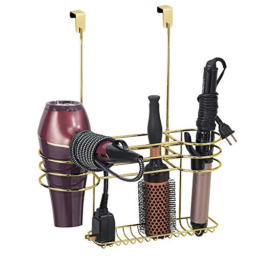 mDesign Soporte para secador de Pelo sin Taladro – Ideal como estantería de baño para secador de Cabello – Colgador para Puerta con 3 Soportes para rizador, Plancha para Pelo y cepillos – Colo