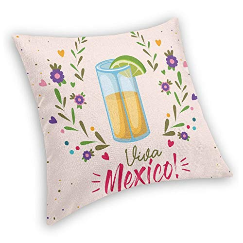 DHNKW Retro Square Decorative Throw Pillow Cushion Cover,Image of Shot Glass with Viva Mexico Lettering and Pretty Floral Branches Artsy,18 X 18 inches