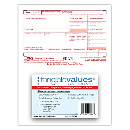 W-2 Tax Forms 2019 - Tangible Values 4-Part Laser Tax Form Kit with Envelopes - Accounting & QuickBooks Software Compatible, 50 Pack Photo #3