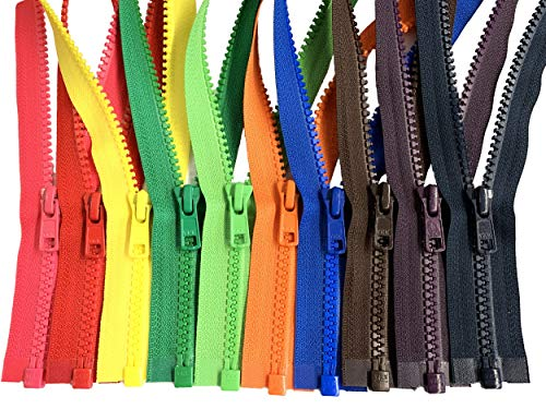 Assorted Colors Ykk #5 Vislon Separating Jacket Zippers for Sewing Coat Jacket - Plastic Zippers Bulk 5 or 10 Colors Mixed (20 Inches 10pcs)
