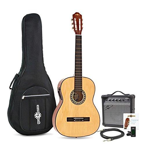 Guitarra Clasica Electroacustica de Gear4music Natural con Amplificador