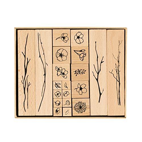 IWILCS Holzstempel zum Basteln, 20PCS Holz Stempel Gummi Holz Vintage Holzstempel Hochzeit, Keksstempel Tischdeko, Natürliche Pflanze Seal Set