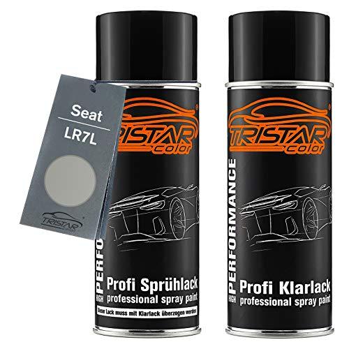 TRISTARcolor Autolack Spraydosen Set für Seat LR7L Silver Leaf Metallic Basislack Klarlack Sprühdose 400ml