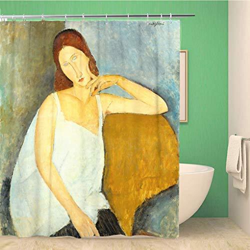 Awowee Cortina de ducha decorativa Jeanne Hebuterne por Amedeo Modigliani 1919 modernista italiana pintura 180 x 180 cm, tela de poliéster impermeable, juego de cortinas de baño con ganchos para baño