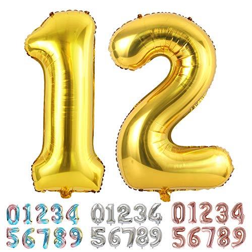 Ponmoo Foil Globo Número 12 21 Dorado, Gigante Numeros 0 1 2 3 4 5 6 7 8 9 10-19 20-29 30 40 50 60 70 80 90 100, Grande Globos para La Boda Aniversario, Globo de Cumpleaños Fiesta Decoración