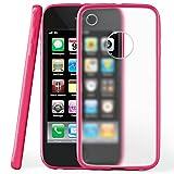 MoEx Coque Mate Transparente Compatible iPhone 3GS / iPhone 3G | Bords surélevés Contrastants, Rose Vif