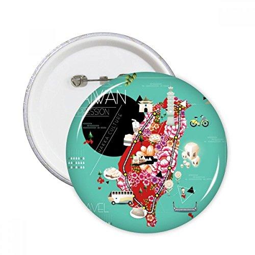 DIYthinker Traditonal Taiwan Impression Runde Stifte Abzeichen-Knopf Kleidung Dekoration Geschenk 5pcs Mehrfarbig S