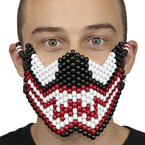 Kandi Gear Carnage Kandi Mask Full by, rave mask, halloween mask, beaded mask, bead mask for music fesivals and parties