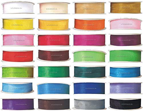 e-kurzwaren 32m Organza/Chiffonband 6/9/12/18/25/38mm breit DEKO Geschenkband 28 Farben