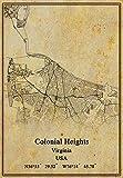 Póster de mapa colonial Heights de los Estados Unidos de Virginia, impresión en lienzo, estilo vintage, sin marco, decoración de regalo, 45,7 x 60,9 cm