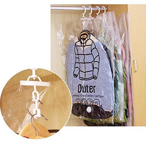HERUNNA Sacchetti di compressione sottovuoto da appendere, 2 confezioni da appendere sotto vuoto, sacchetti trasparenti con gancio per abiti, cappotti, giacche