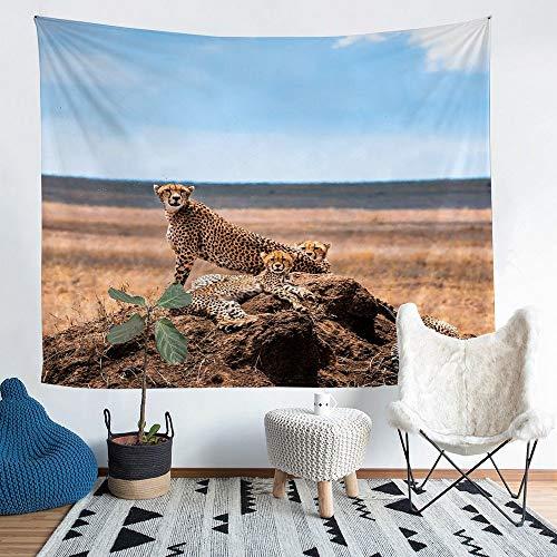 Homewish Colgantes de pared para niños y niñas, diseño de leopardo de África, manta de animales salvajes, tapiz decorativo moderno para sala de estar, tamaño XL, 152 x 231 cm