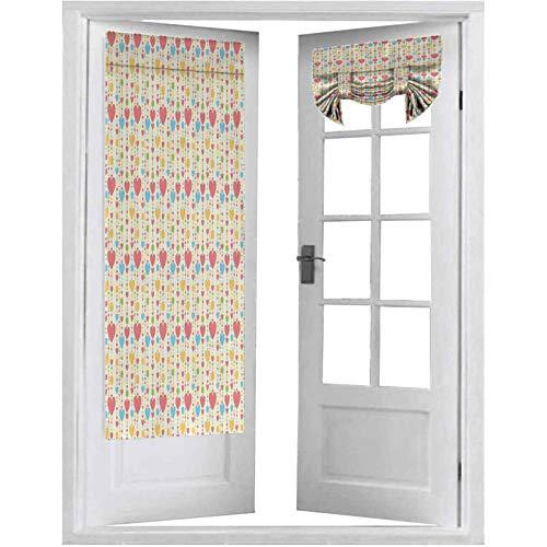 Cortinas francesas para puerta, diseño de corazones y lunares, diseño abstracto con motivos románticos, 2 paneles, 66 x 172 cm, cortinas para oscurecer la habitación, multicolor