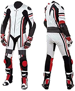 Motorcycle New White One piece Track Pro Racing Suit CE Approved Protection (MED)