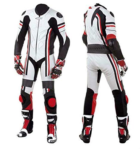 Motorcycle New White One piece Track Pro Racing Suit CE Approved Protection (4XL)