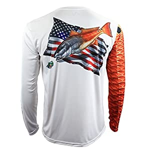 Salty Scales Redfish Long Sleeve Fishing Shirt for Men, Dri-Fit Performance