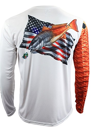 Salty Scales Redfish Long Sleeve Fishing Shirt for Men, Dri-Fit Performance (3XL) White