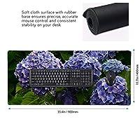 あじさい 紫色 マウスパッド ゲーミングマウスパット デスクマット キーボードパッド 滑り止め 高級感 耐久性が良い デスクマットメ キーボード パッド おしゃれ ゲーム用(90cm*40cm)